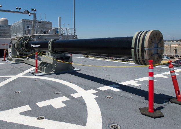 One of two electromagnetic railgun prototypes on display aboard joint high speed vessel USS Millinocket (JHSV 3) in port at Naval Base San Diego on July 8, 2014. US Navy photo.