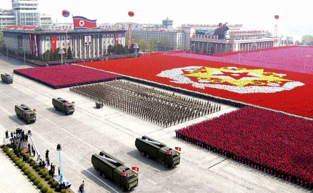 A North Korean missile unit takes part in a military parade to celebrate the 75th anniversary of the founding of the Korean People's Army in Pyongyang on April 25, 2007.