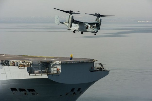 The U.S. Marines' MV-22 Osprey takes off from the Dixmude. French Navy photo courtesy Navy Recognition.