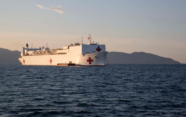 Hospital ship USNS Mercy (T-AH 19) sits at anchor upon its arrival off the coast of Da Nang, Vietnam on Aug. 17, 2015. US Marine Corps Photo