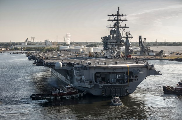 150828-N-MA158-005 PORTSMOUTH, Va. (Aug. 28, 2015) The aircraft carrier USS Dwight D. Eisenhower (CVN 69) departs Norfolk Naval Shipyard following successful completion of its drydocking planned incremental availability. (U.S. Navy photo by Shayne Hensley/Released)