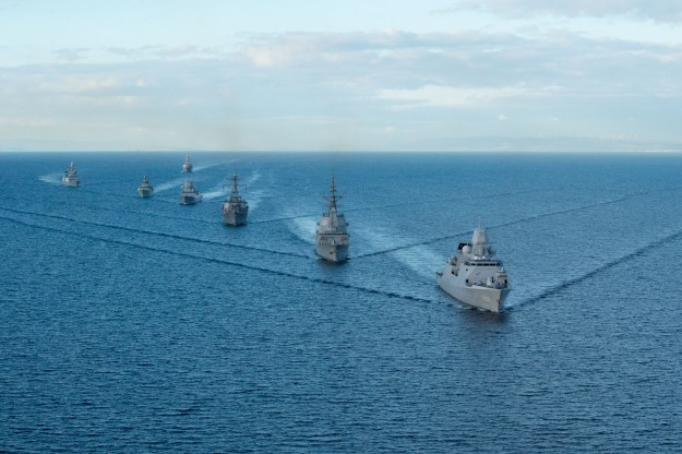 The Arleigh Burke-class guided missile destroyer USS Ross (DDG 71) takes part in a ship formation to begin At Sea Demonstration 2015 (ASD 15) Oct. 18, 2015. US Navy photo.