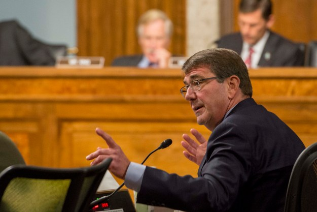 Secretary of Defense Ash Carter testifes before the Senate Armed Services Committee on U.S. military strategy in the Middle East Oct. 27, 2015. DoD Photo
