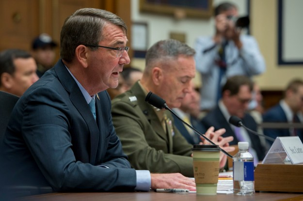 Defense Secretary Ash Carter, foreground, and Marine Corps Gen. Joseph F. Dunford Jr., chairman of the Joint Chiefs of Staff, testify before the House Armed Services Committee about U.S. strategy for Syria and Iraq in Washington, D.C. on Dec. 1, 2015. DoD Photo