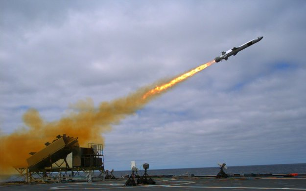 A Kongsberg Naval Strike Missile (NSM) is launched from the Littoral Combat Ship USS Coronado (LCS 4) during a Sept. 23, 2014, test off the coast of Southern California. US Navy photo.