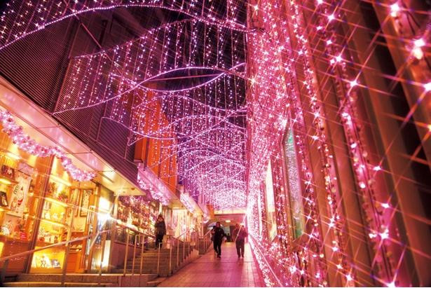 新宿駅西口から南口一帯がやわらかな桜色に染まる「新宿テラスシティ イルミネーション'17-'18」