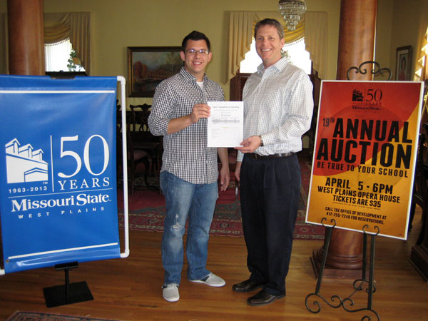 "TALER SUTHERLAND, left, a sophomore at Missouri State University-West Plains, has offered basic wash and detail services from his business, Taler's Complete Car Detailing in West Plains, as a bid item for the university's 19th Annual Auction Friday, April 5, at the West Plains Opera House.  The service includes a hand wash and chamois dry; interior vacuuming; cleaning of the door jams, dash, door panels, and wheels; and tire dress, which is valued at $80, he said.  ""The university has been really good to me, and I thought this would be a great opportunity to give back to the university,"" he said.  Tickets for this year's event, which will get underway with a silent auction at 6 p.m. followed by the live auction at 7:45, are $35 per person, or tables of eight can be reserved for $350, organizers said.  A complete list of auction items can be found at the website, http://wp.missouristate.edu/development/auction.htm.  The theme of this year's event is ""Be True to Your School"" in honor of the campus' 50th anniversary.  With Sutherland above is Director of Development Joe Kammerer.  For more information or to reserve tickets, call 417-255-7240 or e-mail WPDevelopment@MissouriState.edu.  (Photo provided)"