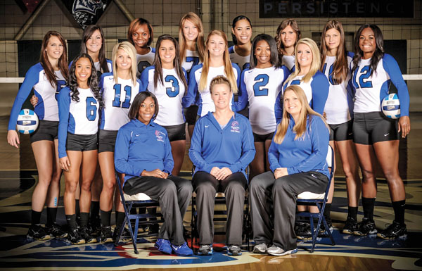 THE 2013 MISSOURI STATE UNIVERSITY-West Plains Grizzly Volleyball team and two of its members received academic honors from the National Junior College Athletic Association (NJCAA).  The team was named one of the 2013-2014 Volleyball All-Academic Teams for posting a combined grade point average (GPA) of 3.14 on a 4.0 scale, and sophomore middle attacker Torika Baleilekutu, Palo Alto, Calif., and sophomore setter/outside attacker Laiz Novaes, Rio de Janeiro, Brazil, each received the NJCAA Award for Exemplary Academic Achievement for posting cumulative GPAs of 3.63 and 3.77, respectively.  Front row from left are former Assistant Coach Crystal Stigler, Head Coach Paula Wiedemann and Strength and Conditioning Coach Keri Elrod.  Second row: Players Victoria Williams, Houston, Texas; Paris Witte, West Plains; Novaes; Grace Kiely, St. Louis; Shalice Goss, Houston, Texas; and Alyssa Aldag, Fort Worth, Texas.  Back row: Players Brianna Zebert, Pierce City; Kaili Simmons, El Dorado Springs; Leondra Barrett, Ooltewah, Tenn.; Ashley Bishton, Liberty, Mo.; Nella Ioramo, Union City, Calif.; Helena Peric, Smederevo, Serbia; Adrijana Mazulovic, Belgrade, Serbia; and Baleilekutu.  (Missouri State-West Plains Photo)