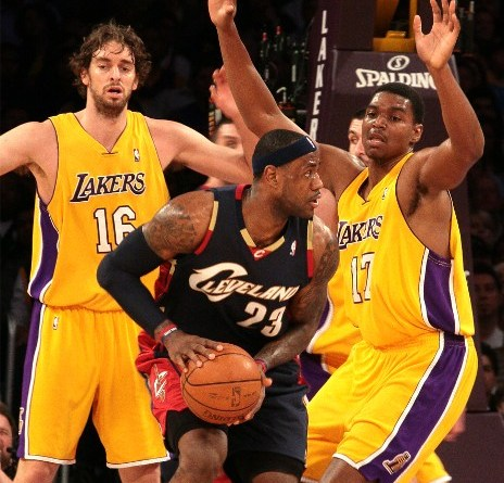 LeBron James, here going up against the Los Angeles Lakers in 2008, won't be wearing a Cleveland Cavaliers uniform next season./Burt Harris/HGSTAR 1 News