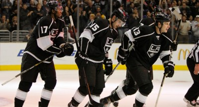 Los Angeles Kings players Wayne Simmonds (17), Brad Richardson (15) and Kyle Clifford (13) will be looking to rebound from Game 3's overtime loss to the San Jose Sharks in the NHL's first round playoff series./Photo Credit: Bryan Covarrubias