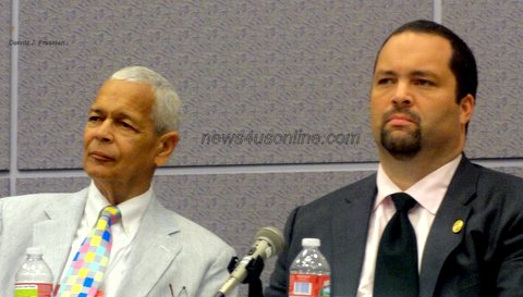 Civil rights icon Julian Bond shares the stage during a panel discussion with NAACP President and CEO Benjamin Todd Jealous./Dennis J. Freeman/news4usonline.com