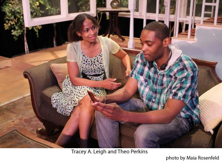 """Lashawna (Tracey A. Leigh) and Anquan (Theo Perkins) share a moment in """"The Many Mistresses of Martin Luther King,"""" now playing at the Atwater Village Theatre in Los Angeles. Photo: Tom Burruss"""