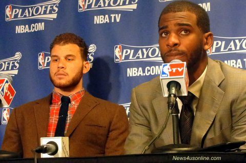 Nowhere to hide: Blake Griffin (left) and Chris Paul hope to lead the Los Angeles Clippers to a game seven win. Photo Credit: Dennis J. Freeman