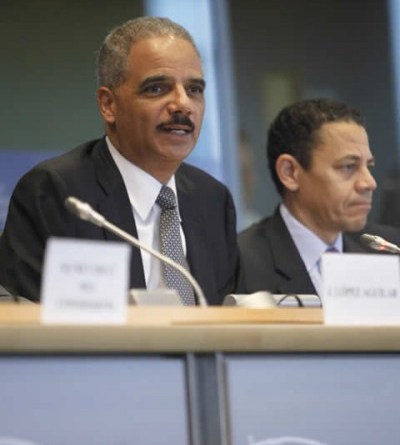 In charge: U.S. Attorney Eric Holder at the European Parliament in 2011. Photo Credit: Courtesy of the Justice Department