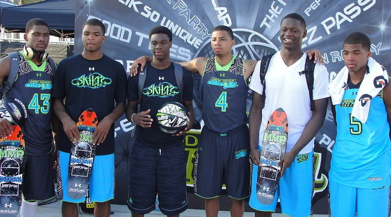 Julius Randle (2nd from right) is now a member of the Los Angeles Lakers. Randle is seen here at the Under Armor Elite 24 Game, along with the Harrison twins Andrew and Aaron)at Venice beach. Photo Credit: Dennis J. Freeman/News4usonline.com