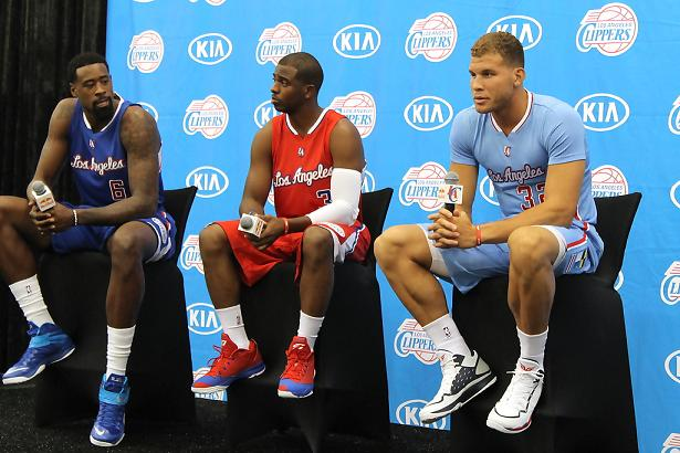 DeAndre Jordan, Chris Paul and Blake Griffin at the Clippers 2014 Media Day. Photo Credit: Dennis J. Freeman/News4usonline.com