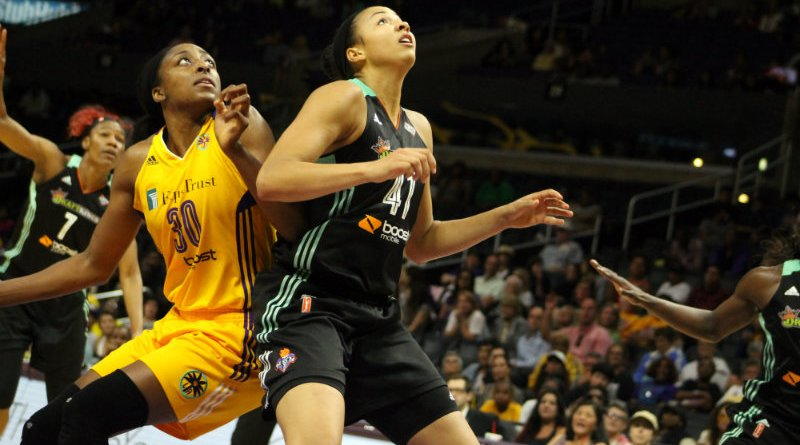 Los Angeles Sparks forward Nneka Ogwumike battles for a rebound against the New York Liberty Wednesday, July 21, 2015. Photo by dennis J. Freeman
