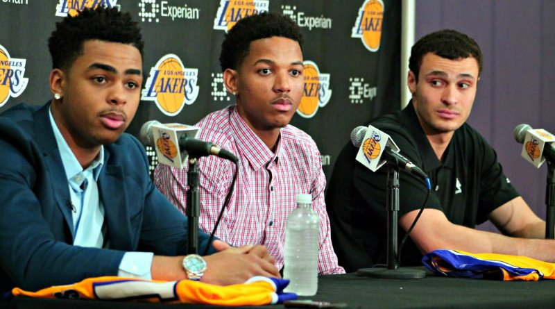 D'Angelo Russell, Anthony Brown and Larry Nance Jr. at the Los Angeles Lakers press conference at the team's training facility in El Segundo, California. Photo by News4usonline.com