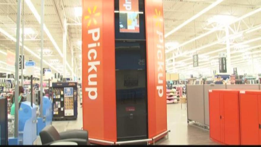 Pickup Tower arrives at Walmart in Mukwonago