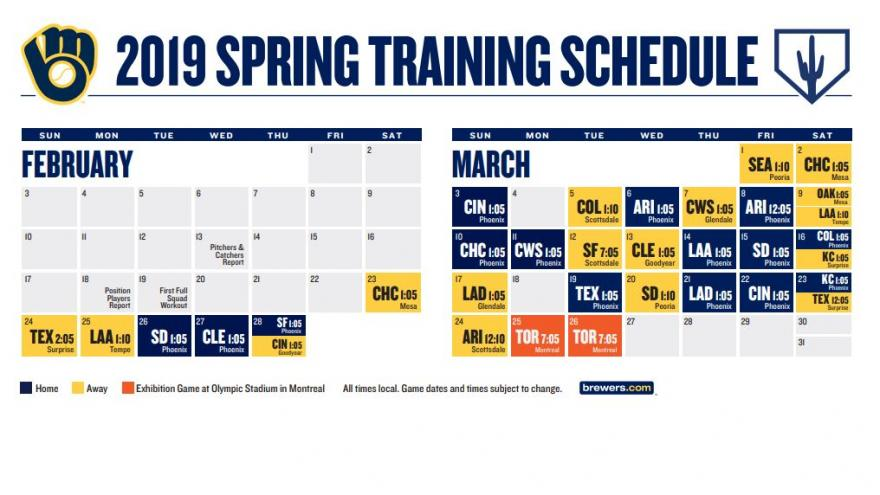 Brewers make minor adjustments to spring training schedule