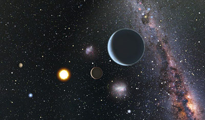 Artist's view of the three-planet system