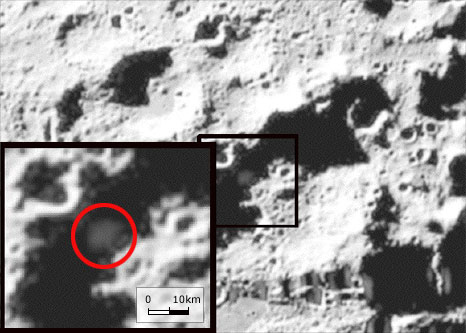 From the BBC, this image shows the material spilled out by the impact of the NASA LCROSS lunar orbiter in 2009