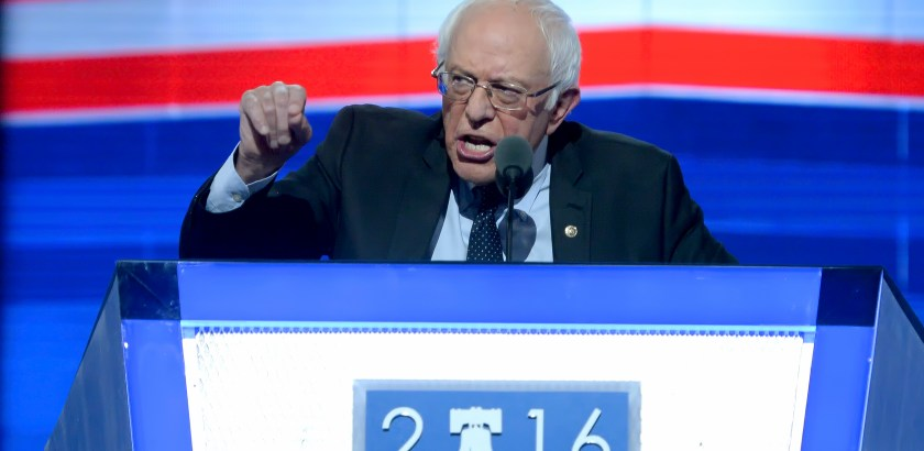 Bernie Sanders addresses the Democratic National Convention Monday night at Wells Fargo Center.