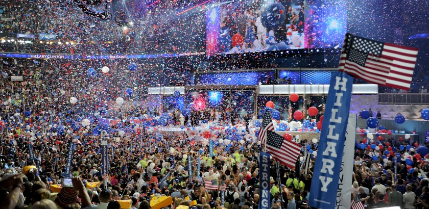 The balloons drop on Hillary Clinton at the end of Day 4 of the Democratic National Convention Thursday at the Wells Fargo Center in Philadelphia.
