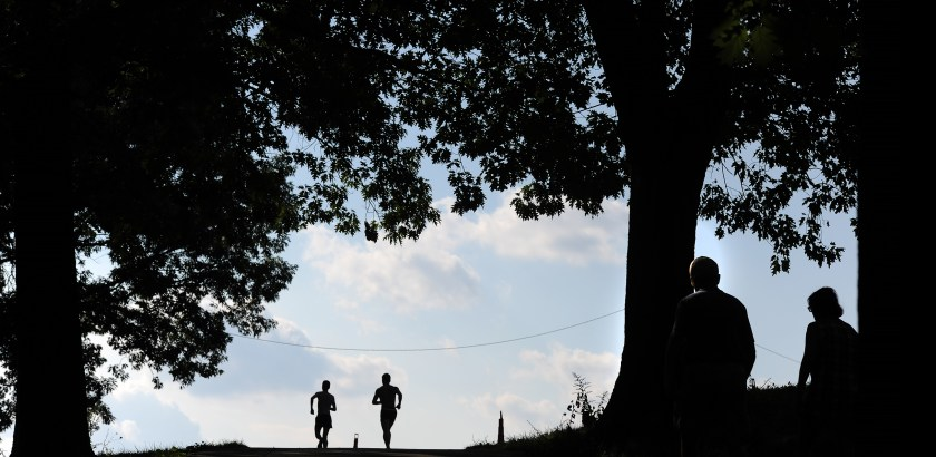 Rebecca Droke/Post-Gazette--Tuesday, September 6,  2016--STANDALONE LOCAL-- Runners make their way through Schenley Park in Oakland on Tuesday, September 6, 2016.