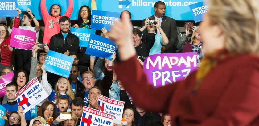 Hillary Clinton gives a thumbs up to her cheering supporters at a rally at Allderdice High School. (Haley Nelson/Post-Gazette)