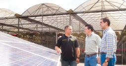 Santiago, Rivera-Aquino and EAA Executive Director Luis Bernal tour the new renewable energy project in Barranquitas.
