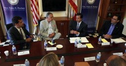 From left: Resident Commissioner Pedro Pierluisi, Secretary LaHood, Gov, Fortuo and Transportation Secretary Ruben Hernndez-Gregorat meet to discuss current and future infrastructure projects. (Credit: La Fortaleza)