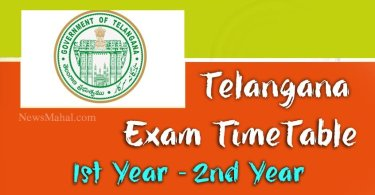 telangana 1st year, 2nd year exam timetable