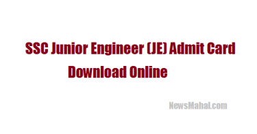 SSC JE Hall Ticket download