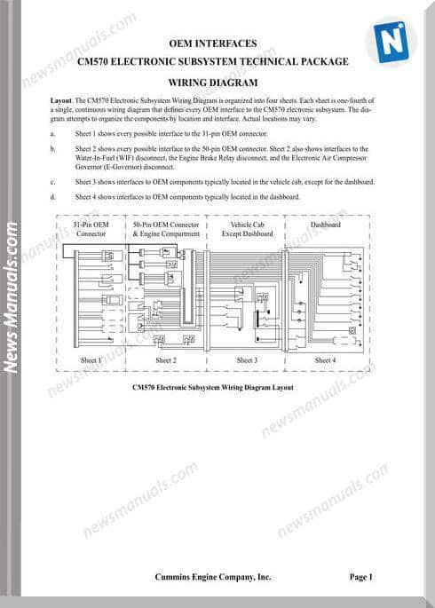 Cummins Cm570 Electronic Subsytem Wiring Diagram