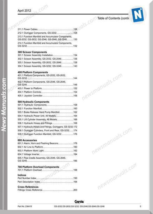 Genie Scissors Lift G Gs 2046 Gs 2646 Gs 3246 Sn Gs4612C 10000 Parts