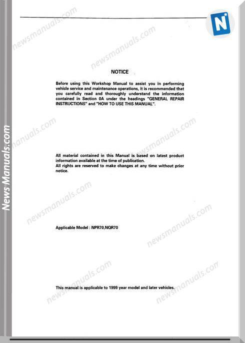 Isuzu N-Series Transmission 450-43Le Workshop Manual