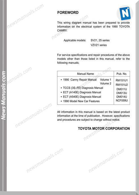 Toyota Camry 87 91 Electrical Wiring Diagram