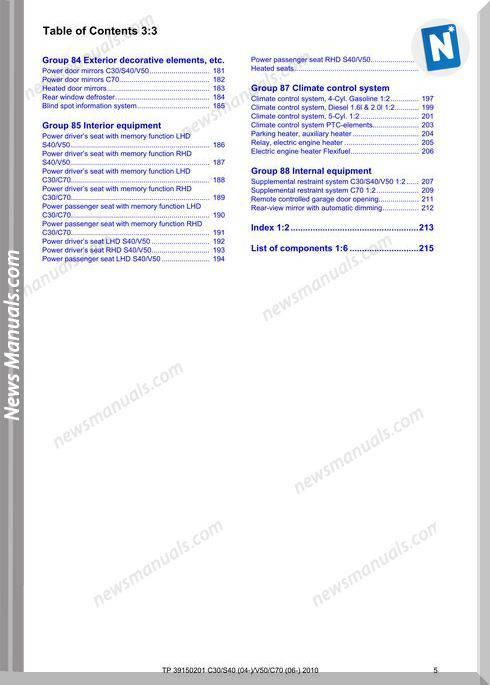 Volvo C30 S40 04 V50 C70 06 2010 Wiring Diagram