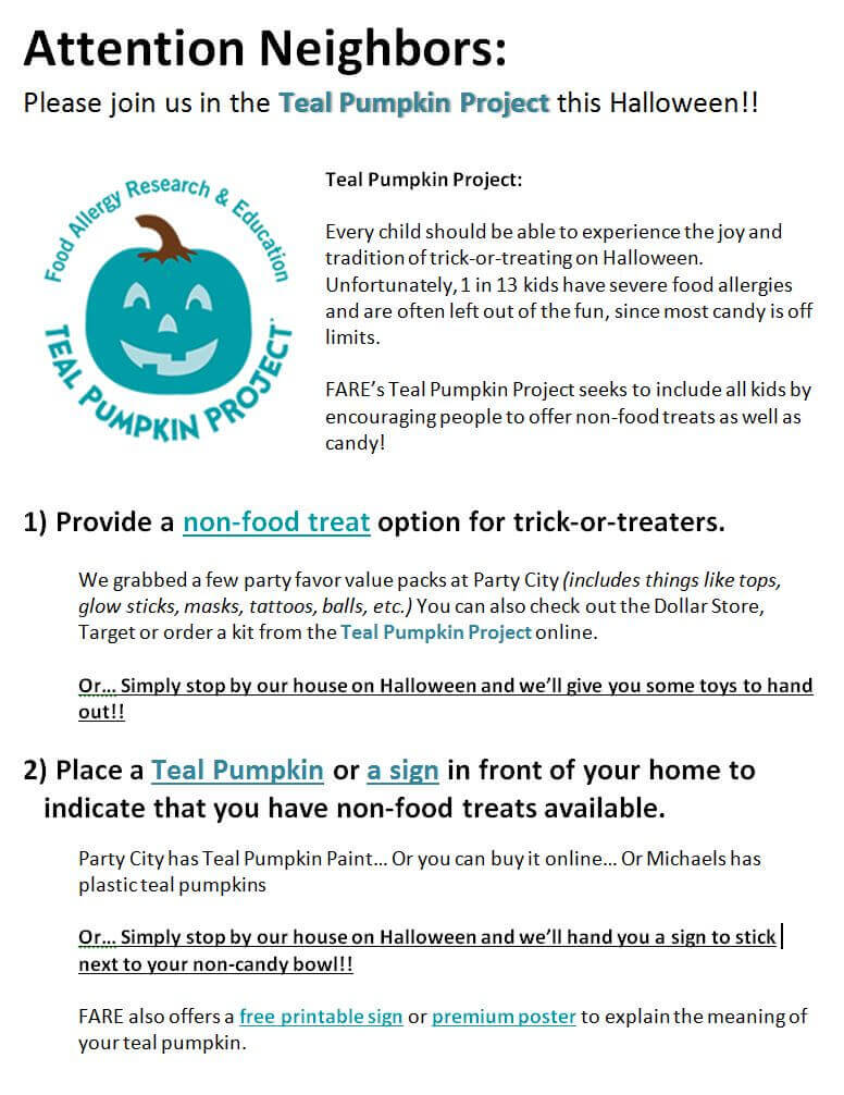 We DON\u0027T Have Food Allergies, We DO Have A Teal Pumpkin