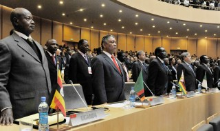 President Yoweri  Museveni  (standing right) during  the 19th African-Union General Assembly  at the New African Headquarters in Addis-Ababa on Sunday 15th July 2012. PPU photo