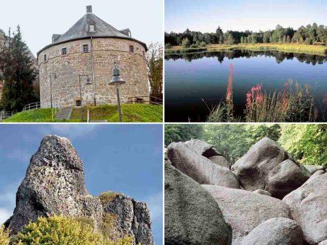 Geheimnisvolle Orte in Hessen. Fotos: hr/Stadt Marburg/Rainer Kieselbach/Fremdenverkehrsverband Rhön e.V./Stadtverwaltung Zierenberg/Gerhard Genzler