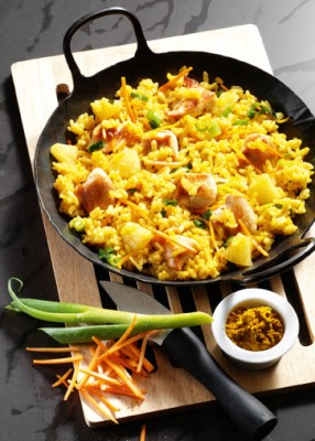Curry-Risotto mit Huhn (cholesterinarm) Foto: Wirths PR