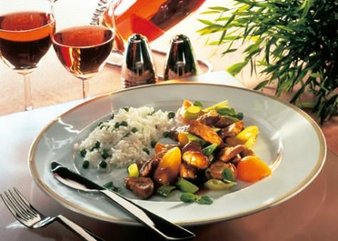 Schweinefleisch mit Curry (cholesterinarm) Foto: Wirths PR
