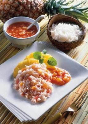 "Tomaten-Ananas-Reis ""Hawaii"" (cholesterinarm) Foto: Wirths PR"