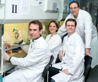 Dr. Daniel Engel, Dr. Christina Weisheit, Dr. Lars Franken und Prof. Dr. Christian Kurts (von links) vom Institut für Experimentelle Immunologie des Universitätsklinikums Bonn. © Foto: Katharina Wislsperger/UKB