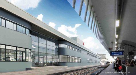 Hbf-Empfangsgebäude_Fassade-Gleisseite Grafik/Quelle: DB S&S AG, I.SBP