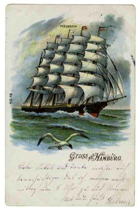 """Der Fünfmaster """"Preussen"""", hier dargestellt auf einer Postkarte aus dem Jahr 1904, galt als das größte und schönste Segelschiff der Welt. Foto: LWL"""