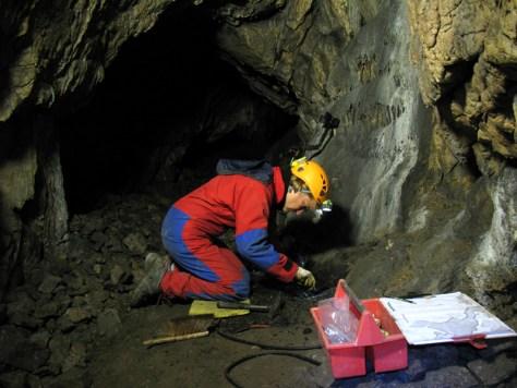 Archäologische Untersuchung der Rösenbecker Höhle in Brilon, bei der große Mengen von eisenzeitlicher Keramik entdeckt wurden. Foto: LWL/Knäpper