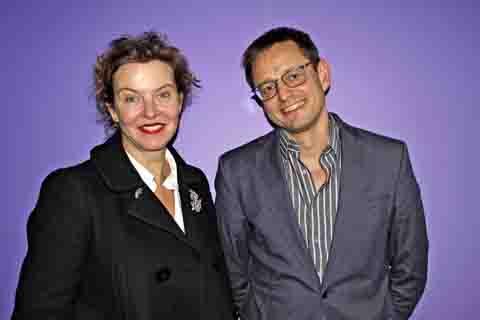 Margarita Broich und hr1-Moderator Uwe Berndt  Foto: hr/Till Hafermann